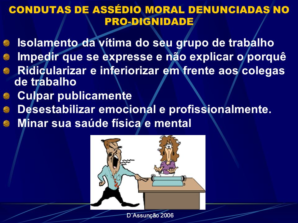 CONDUTAS DE ASSÉDIO MORAL DENUNCIADAS NO PRO-DIGNIDADE