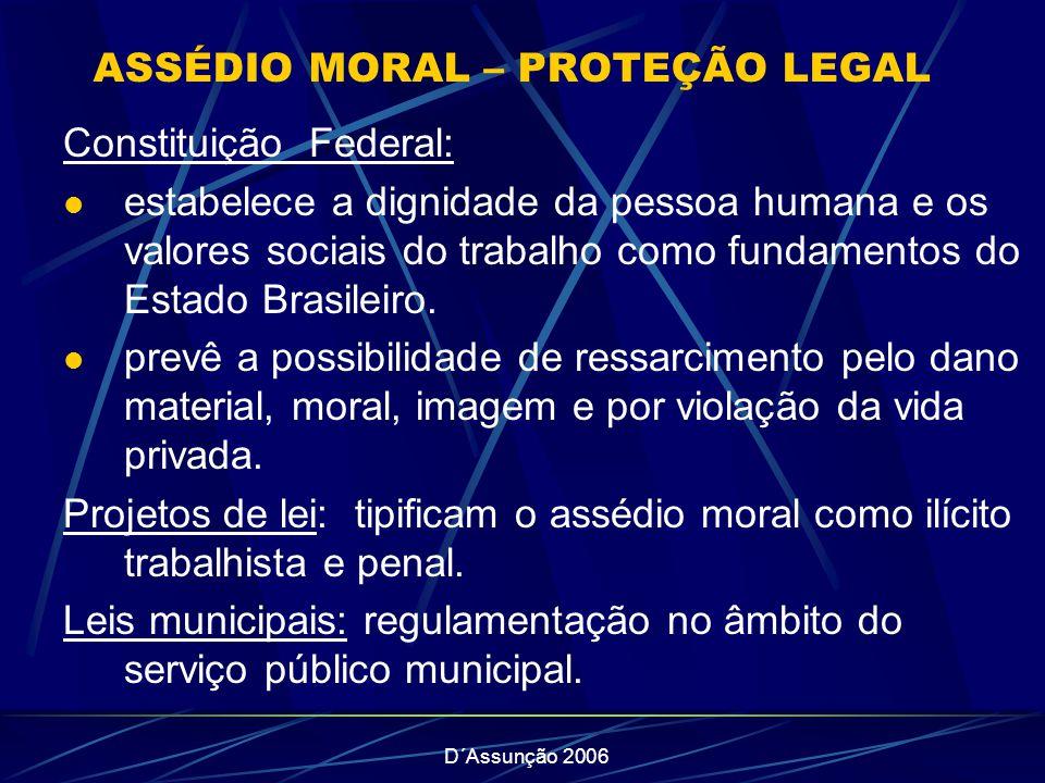 ASSÉDIO MORAL – PROTEÇÃO LEGAL