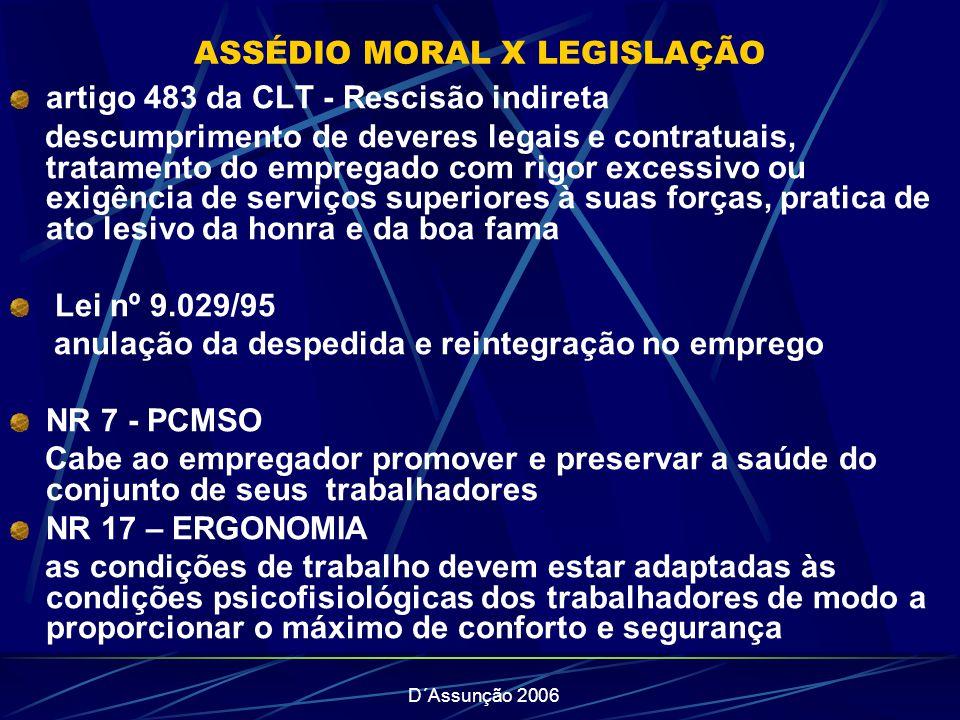 ASSÉDIO MORAL X LEGISLAÇÃO