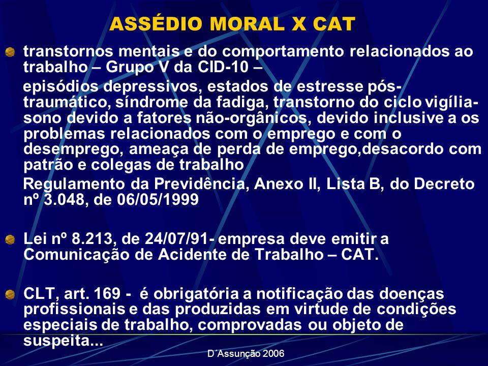 ASSÉDIO MORAL X CAT transtornos mentais e do comportamento relacionados ao trabalho – Grupo V da CID-10 –