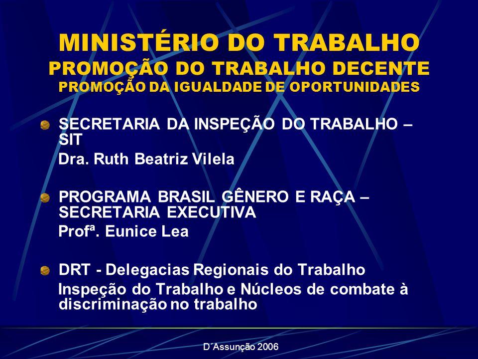 MINISTÉRIO DO TRABALHO PROMOÇÃO DO TRABALHO DECENTE PROMOÇÃO DA IGUALDADE DE OPORTUNIDADES