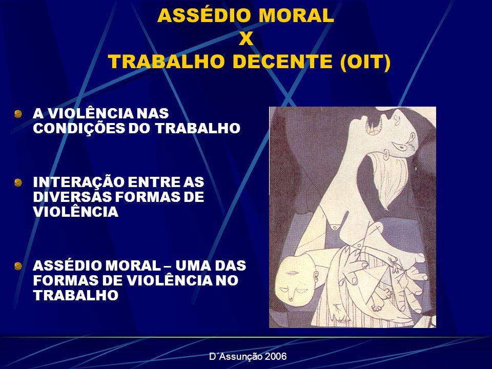 ASSÉDIO MORAL X TRABALHO DECENTE (OIT)