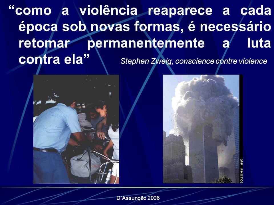 como a violência reaparece a cada época sob novas formas, é necessário retomar permanentemente a luta contra ela Stephen Zweig, conscience contre violence