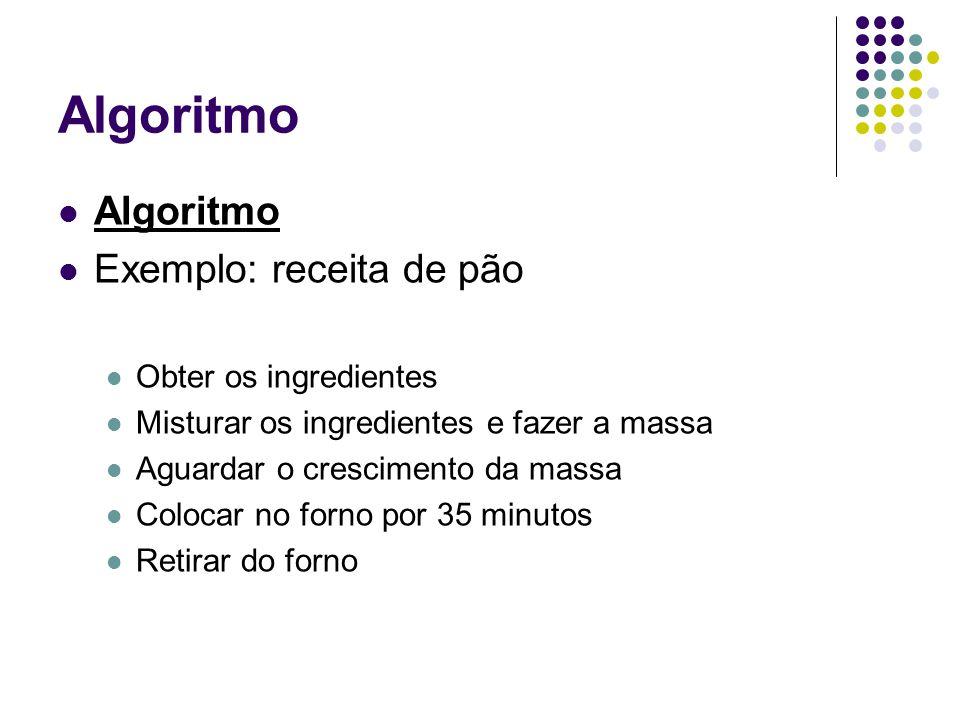Algoritmo Algoritmo Exemplo: receita de pão Obter os ingredientes