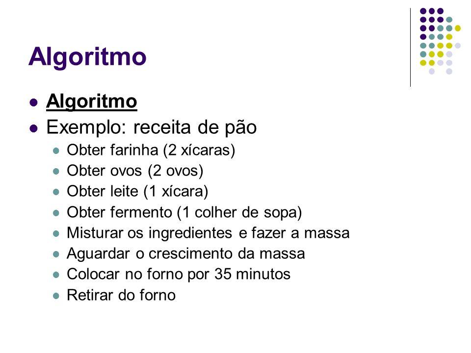 Algoritmo Algoritmo Exemplo: receita de pão Obter farinha (2 xícaras)