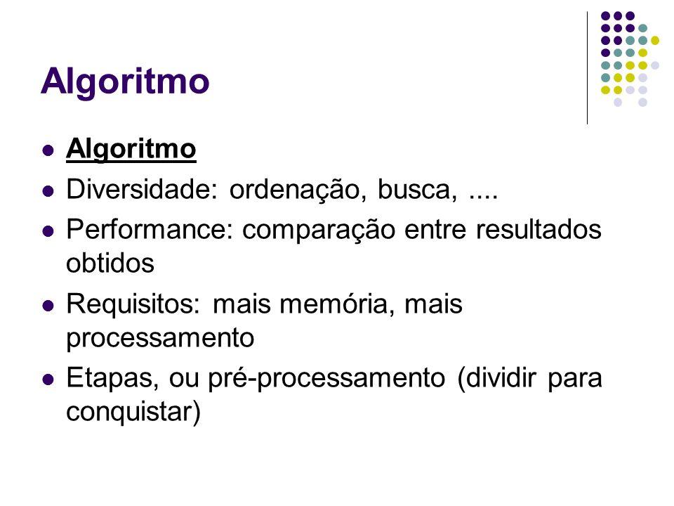 Algoritmo Algoritmo Diversidade: ordenação, busca, ....
