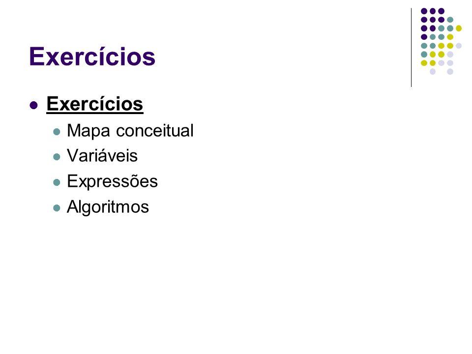 Exercícios Exercícios Mapa conceitual Variáveis Expressões Algoritmos