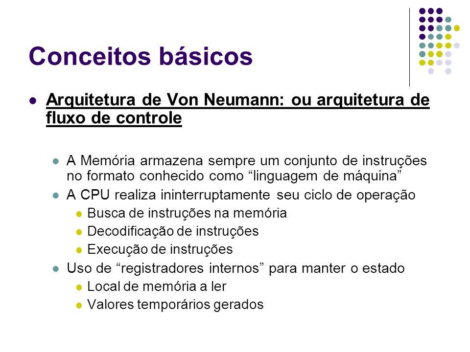 Conceitos básicos Arquitetura de Von Neumann: ou arquitetura de fluxo de controle.