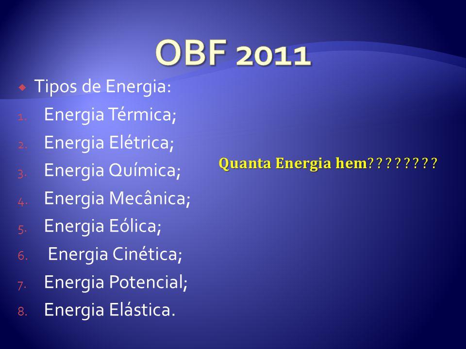 OBF 2011 Tipos de Energia: Energia Térmica; Energia Elétrica;