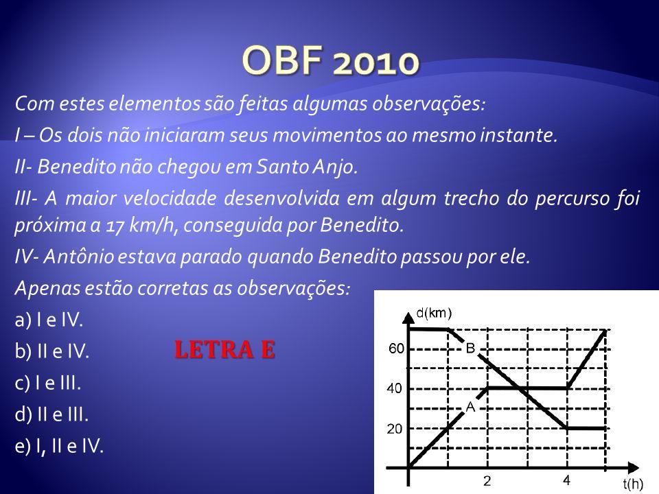 OBF 2010 𝐋𝐄𝐓𝐑𝐀 𝐄 Com estes elementos são feitas algumas observações: