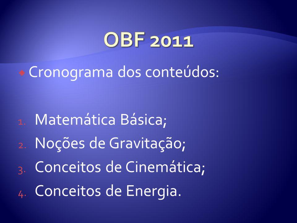 OBF 2011 Cronograma dos conteúdos: Matemática Básica;
