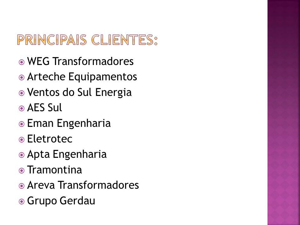 Principais clientes: WEG Transformadores Arteche Equipamentos
