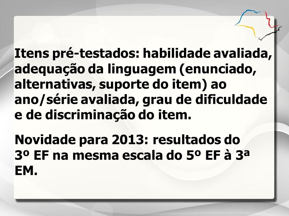 Itens pré-testados: habilidade avaliada, adequação da linguagem (enunciado, alternativas, suporte do item) ao ano/série avaliada, grau de dificuldade e de discriminação do item.