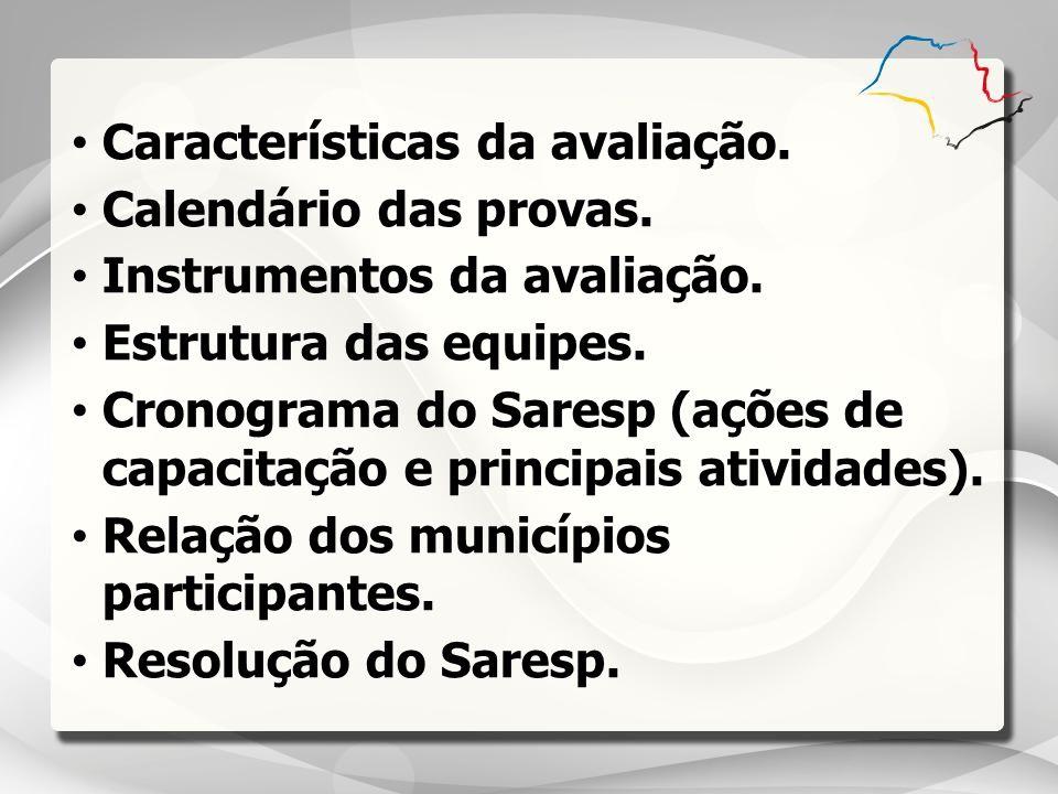 Características da avaliação.