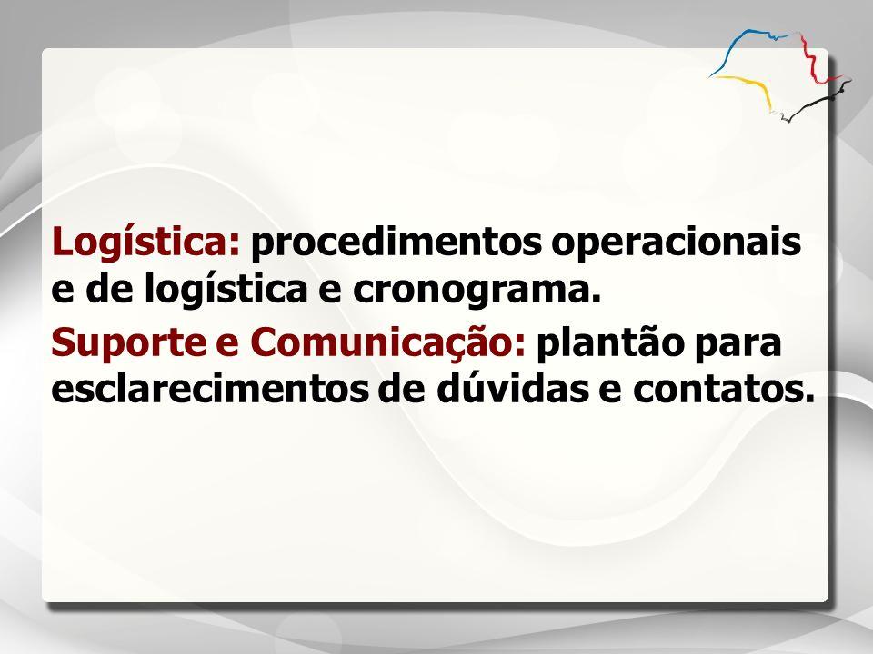 Logística: procedimentos operacionais e de logística e cronograma.