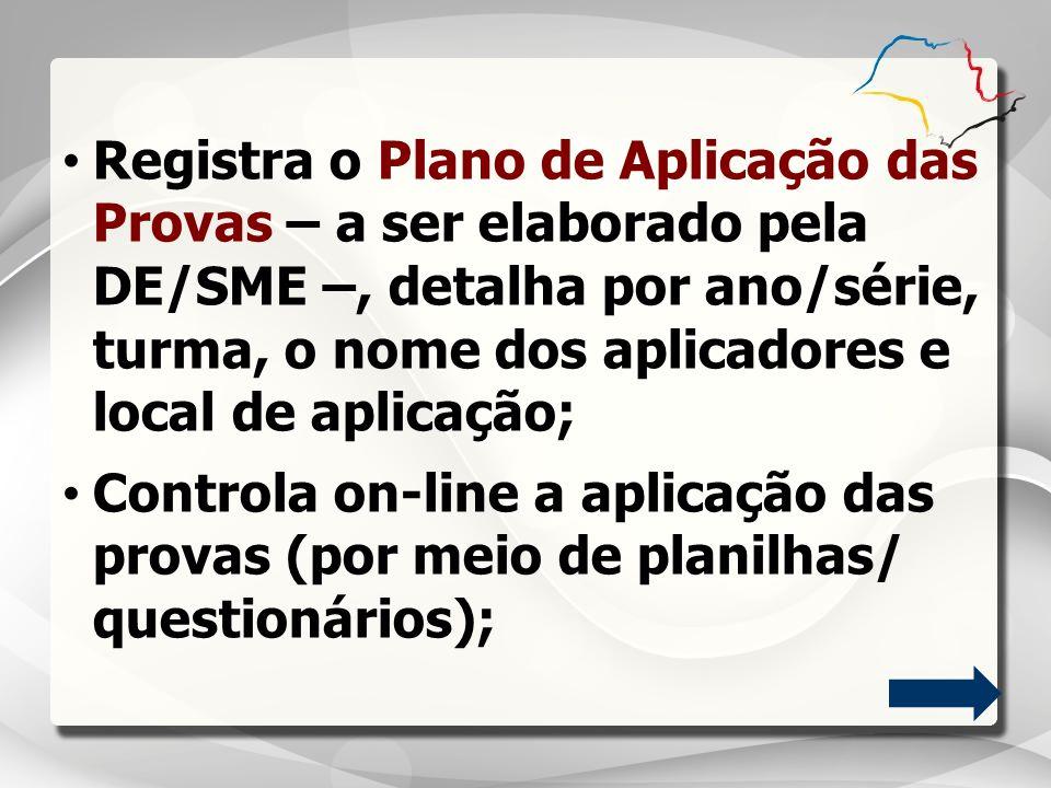 Registra o Plano de Aplicação das Provas – a ser elaborado pela DE/SME –, detalha por ano/série, turma, o nome dos aplicadores e local de aplicação;