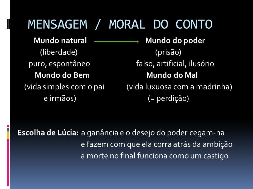 MENSAGEM / MORAL DO CONTO