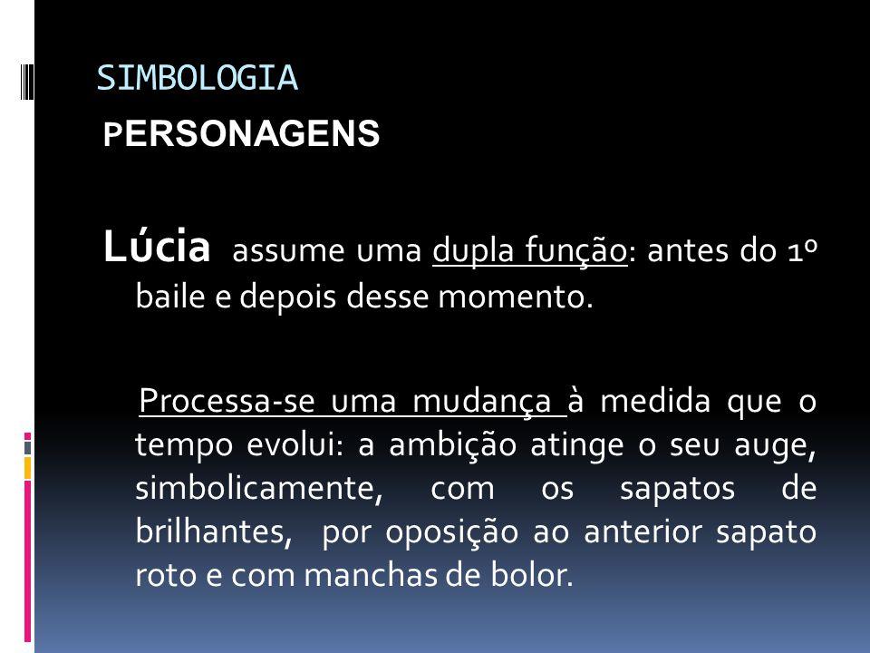 SIMBOLOGIA PERSONAGENS. Lúcia assume uma dupla função: antes do 1º baile e depois desse momento.