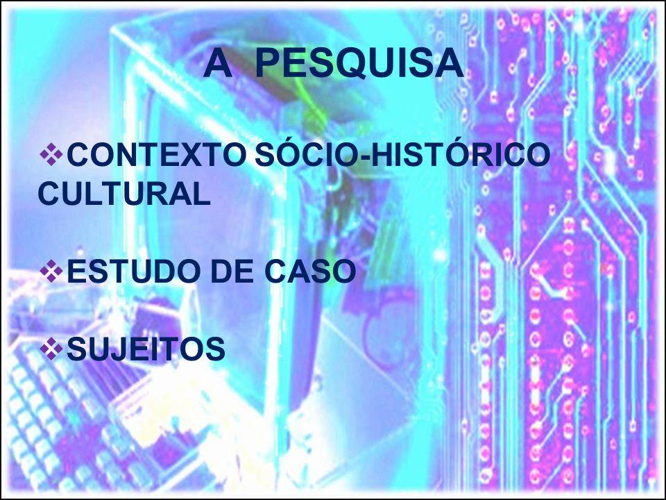 A PESQUISA CONTEXTO SÓCIO-HISTÓRICO CULTURAL ESTUDO DE CASO SUJEITOS