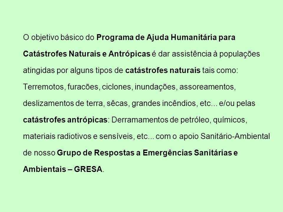 O objetivo básico do Programa de Ajuda Humanitária para Catástrofes Naturais e Antrópicas é dar assistência à populações atingidas por alguns tipos de catástrofes naturais tais como: Terremotos, furacões, ciclones, inundações, assoreamentos, deslizamentos de terra, sêcas, grandes incêndios, etc...