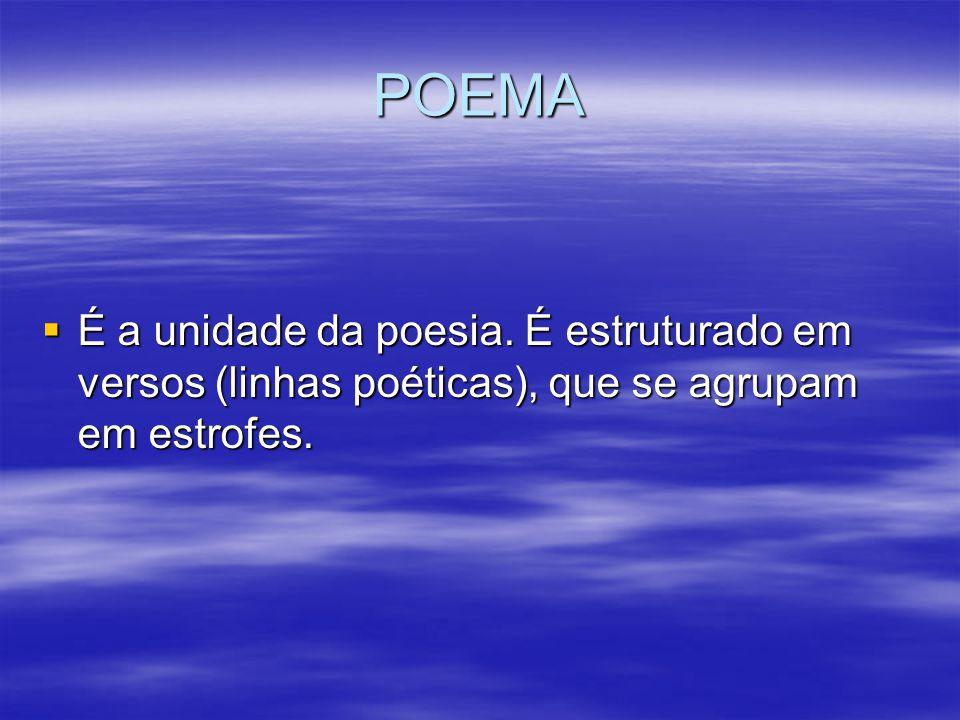 POEMA É a unidade da poesia. É estruturado em versos (linhas poéticas), que se agrupam em estrofes.