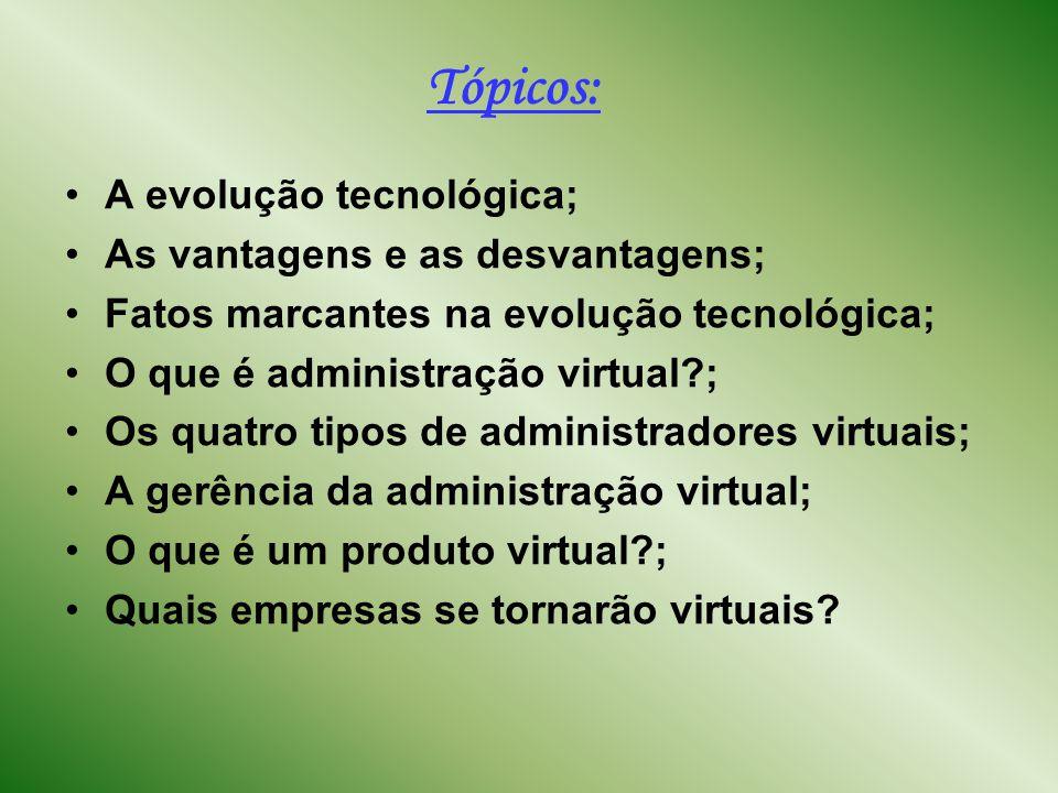 Tópicos: A evolução tecnológica; As vantagens e as desvantagens;