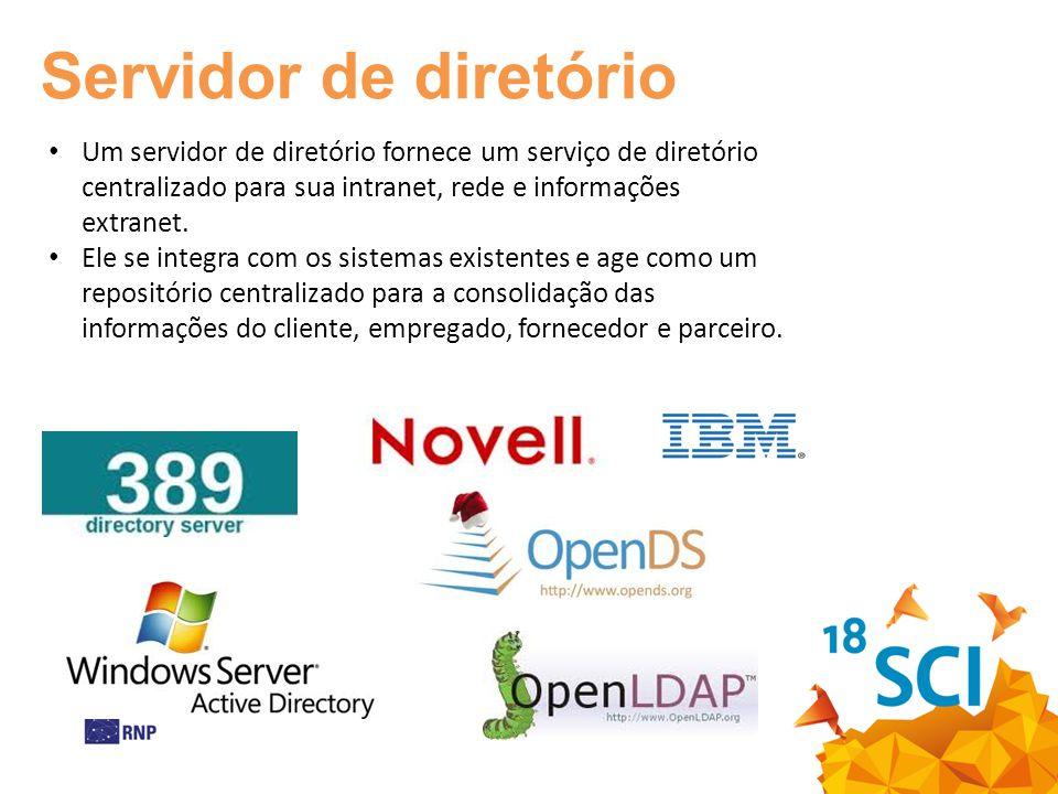 Servidor de diretório Um servidor de diretório fornece um serviço de diretório centralizado para sua intranet, rede e informações extranet.