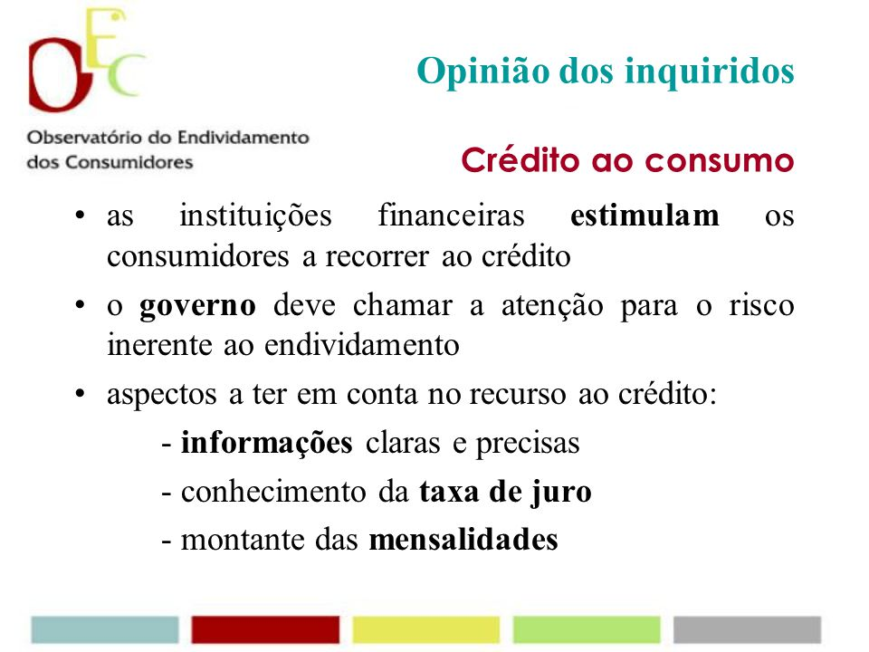 Opinião dos inquiridos Crédito ao consumo