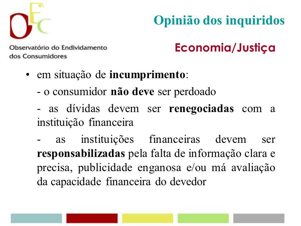 Opinião dos inquiridos Economia/Justiça