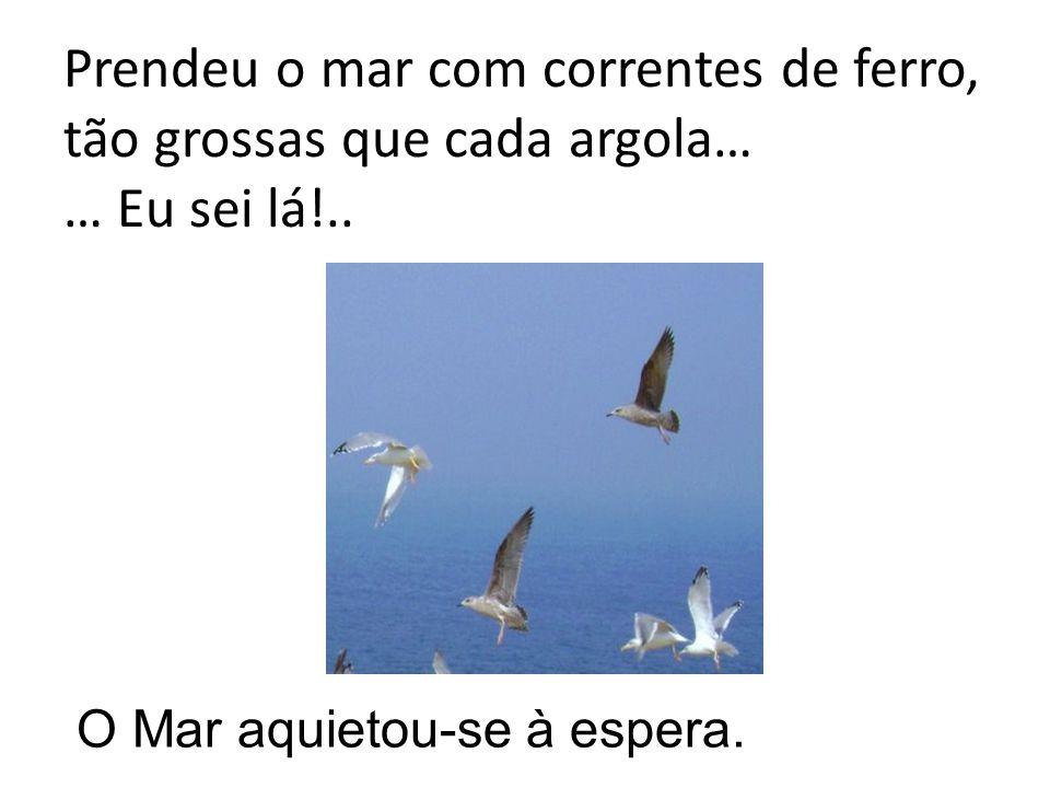 Prendeu o mar com correntes de ferro, tão grossas que cada argola… … Eu sei lá!..