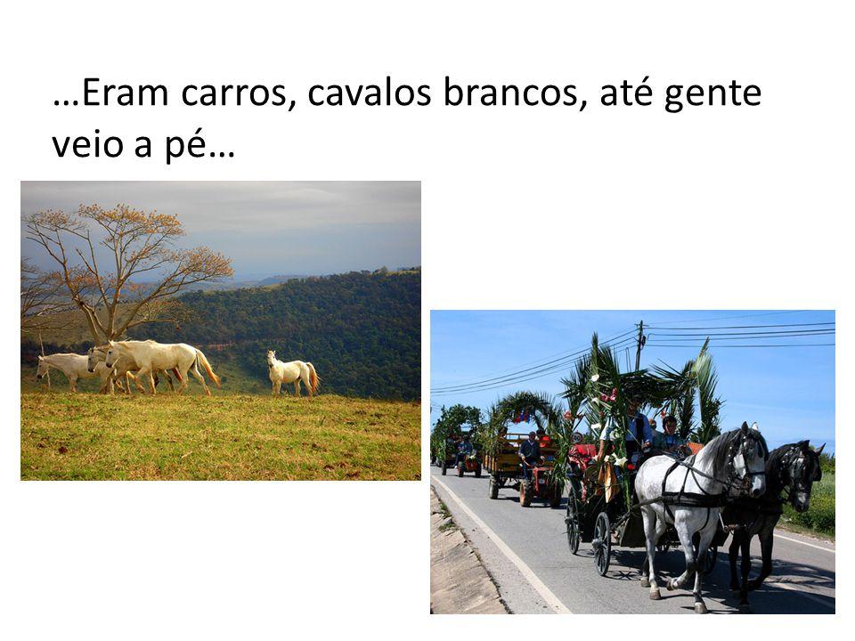 …Eram carros, cavalos brancos, até gente veio a pé…
