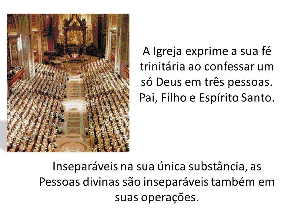 A Igreja exprime a sua fé trinitária ao confessar um só Deus em três pessoas. Pai, Filho e Espírito Santo.