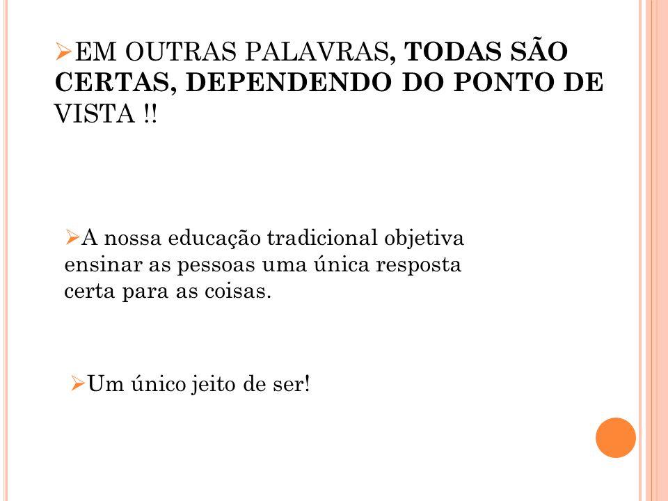 EM OUTRAS PALAVRAS, TODAS SÃO CERTAS, DEPENDENDO DO PONTO DE VISTA !!
