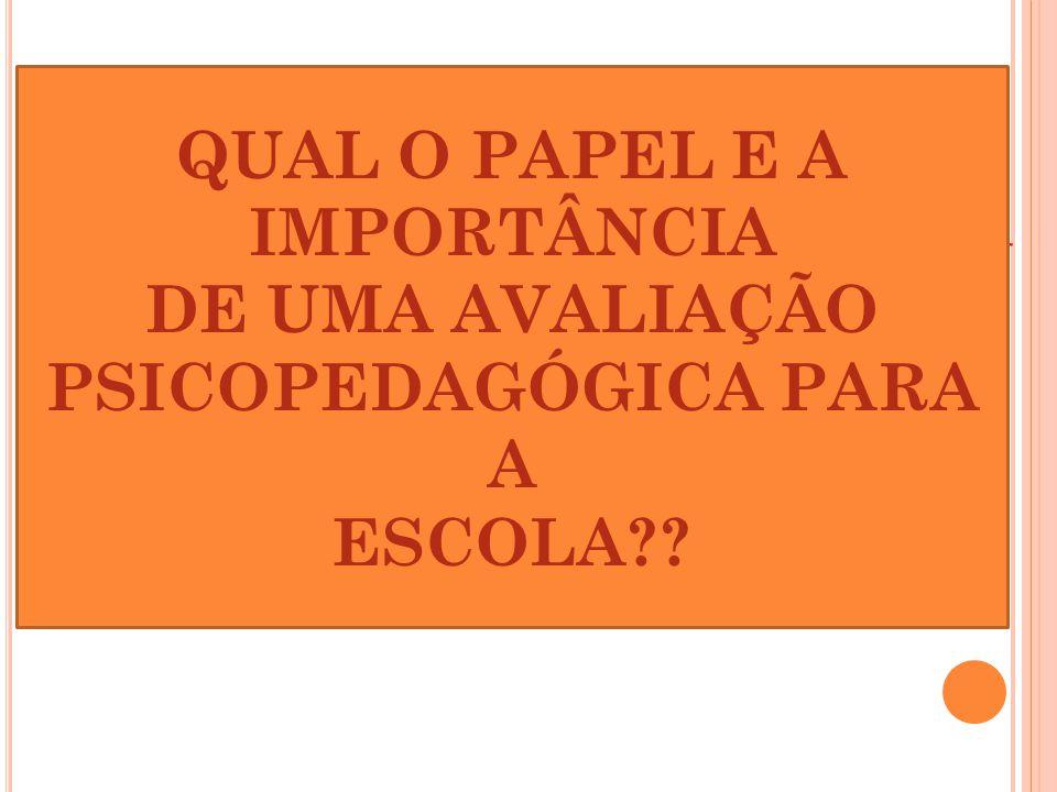 QUAL O PAPEL E A IMPORTÂNCIA DE UMA AVALIAÇÃO PSICOPEDAGÓGICA PARA A