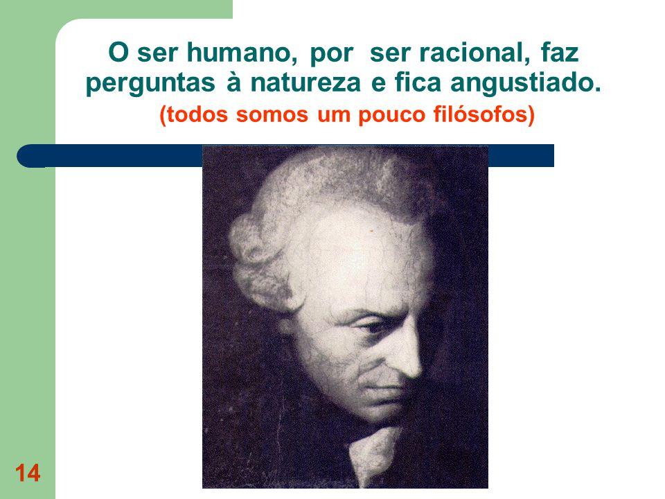 O ser humano, por ser racional, faz perguntas à natureza e fica angustiado.