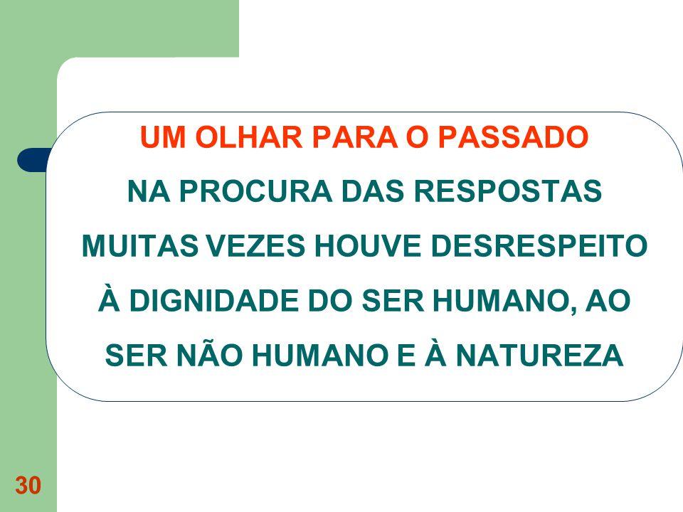 UM OLHAR PARA O PASSADO NA PROCURA DAS RESPOSTAS MUITAS VEZES HOUVE DESRESPEITO À DIGNIDADE DO SER HUMANO, AO SER NÃO HUMANO E À NATUREZA