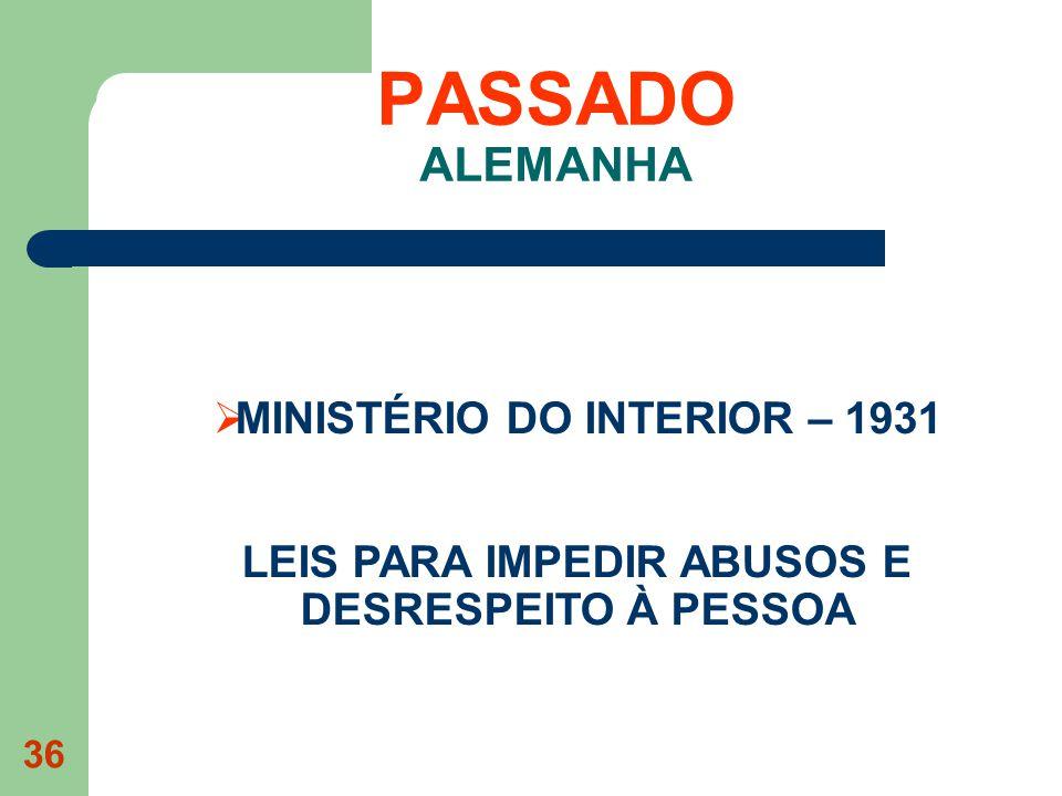 PASSADO ALEMANHA MINISTÉRIO DO INTERIOR – 1931 LEIS PARA IMPEDIR ABUSOS E DESRESPEITO À PESSOA