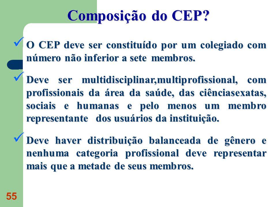 Composição do CEP O CEP deve ser constituído por um colegiado com número não inferior a sete membros.
