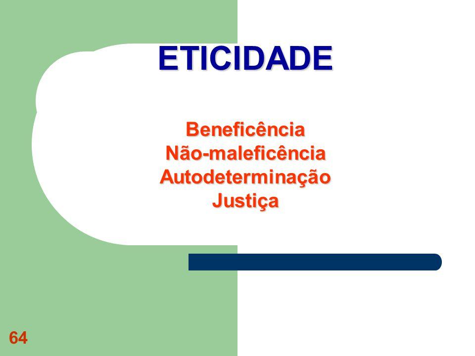 ETICIDADE Beneficência Não-maleficência Autodeterminação Justiça