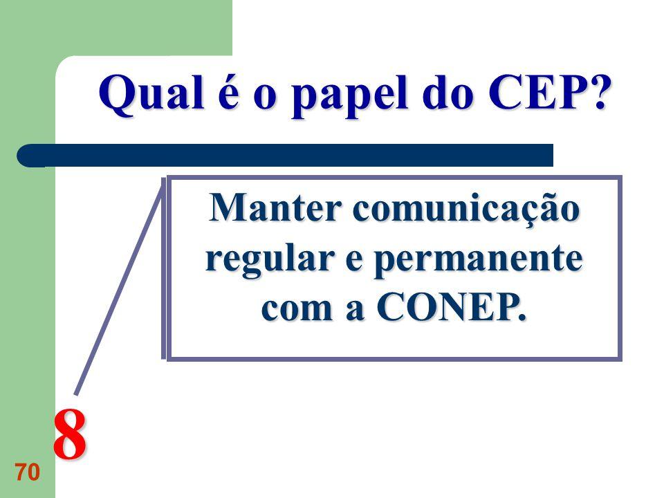 Manter comunicação regular e permanente com a CONEP.