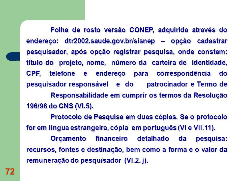Folha de rosto versão CONEP, adquirida através do endereço: dtr2002