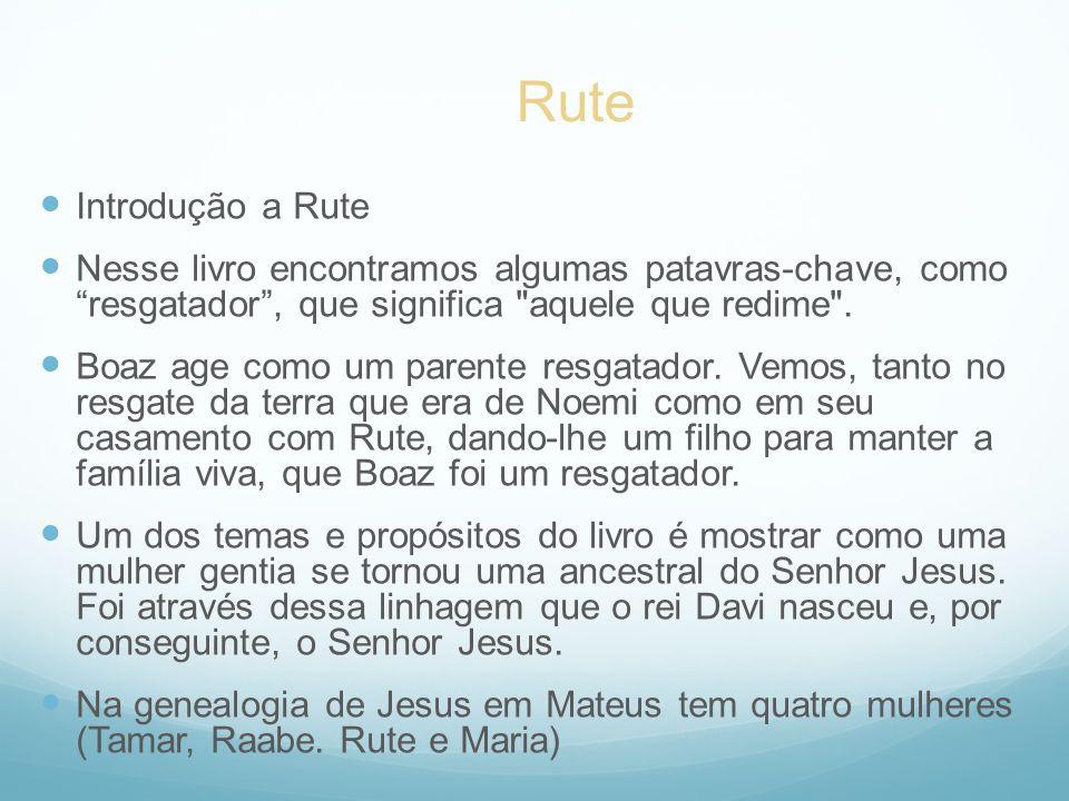Rute Introdução a Rute. Nesse livro encontramos algumas patavras-chave, como resgatador , que significa aquele que redime .