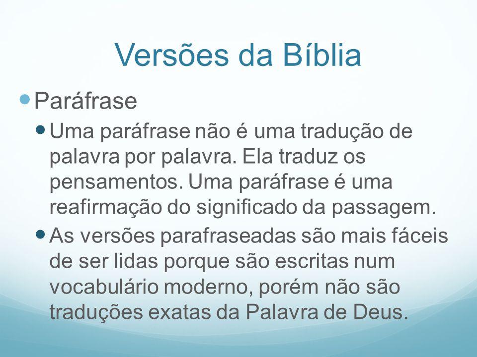Versões da Bíblia Paráfrase