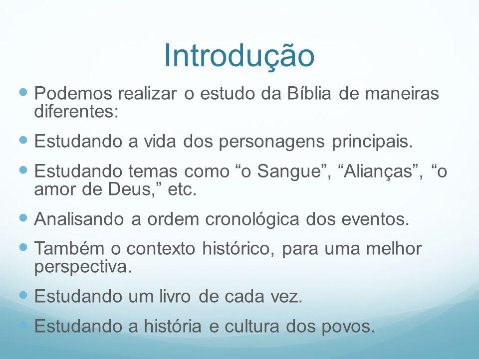 Introdução Podemos realizar o estudo da Bíblia de maneiras diferentes: