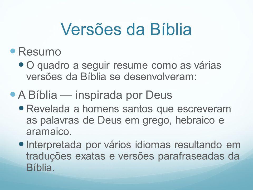 Versões da Bíblia Resumo A Bíblia — inspirada por Deus