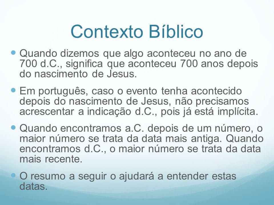 Contexto Bíblico Quando dizemos que algo aconteceu no ano de 700 d.C., significa que aconteceu 700 anos depois do nascimento de Jesus.