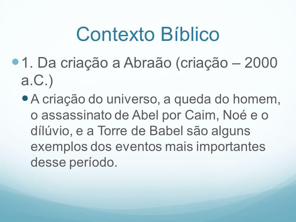 Contexto Bíblico 1. Da criação a Abraão (criação – 2000 a.C.)