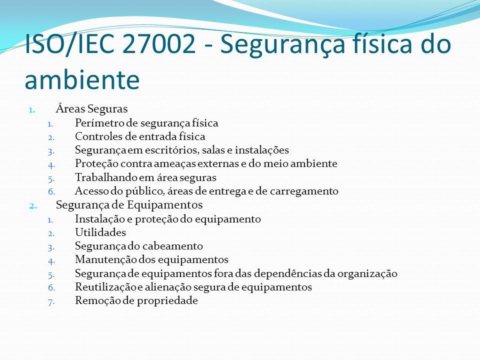 ISO/IEC 27002 - Segurança física do ambiente