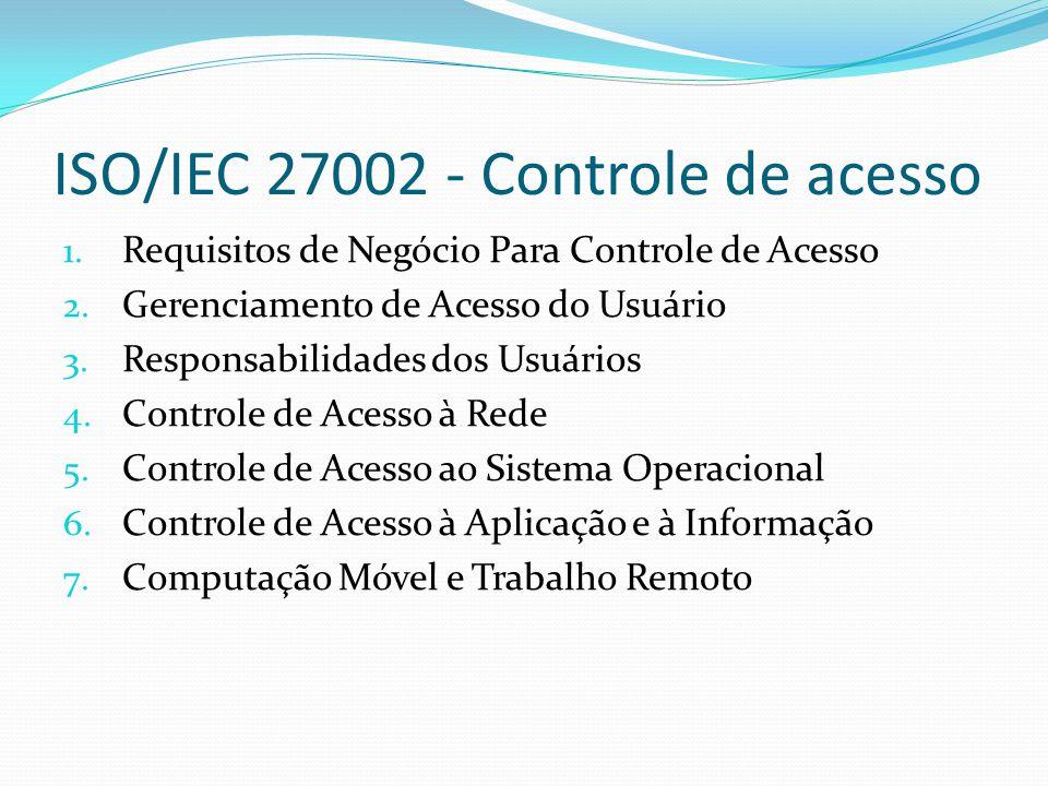 ISO/IEC 27002 - Controle de acesso
