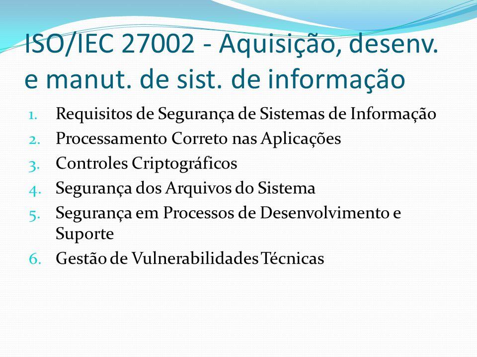 ISO/IEC 27002 - Aquisição, desenv. e manut. de sist. de informação